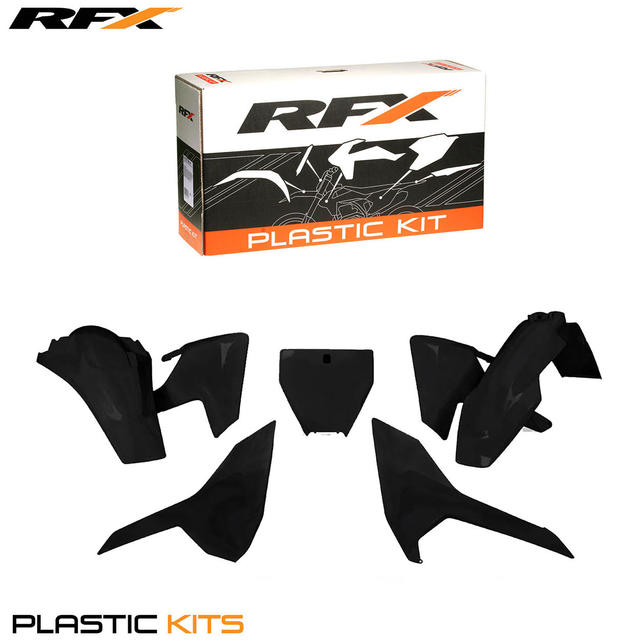 RFX Plastic Kit Husqvarna (Black) TC125 2016 FC250-350-450 2016 (5 Pc Kit)