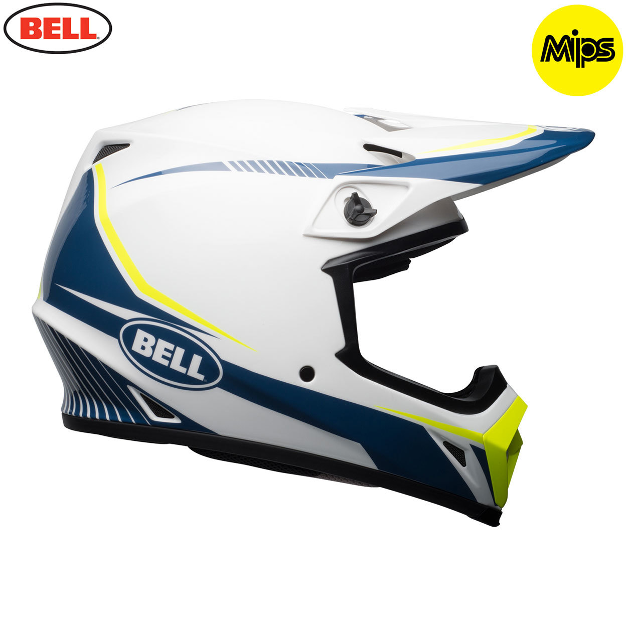 bell mx 2018 mx 9 mips adult helmet torch white blue yellow midwest racing. Black Bedroom Furniture Sets. Home Design Ideas